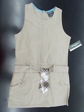 Girls Eddie Bauer School Uniform Khaki Jumper Dress Size 7 - 14