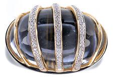 14K Yellow Gold Crystal Quartz & Black Onyx Ring Size 7
