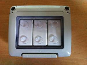 Waterproof Weatherproof Triple Outside Switch 3 Gang 2 Way Gewiss  IP55