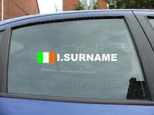 x2 Rally Race Tag Name Surname Car Window Stickers Decals Ireland Flag ref:14