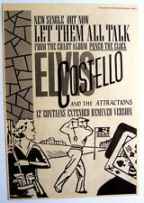 Elvis Costello 1983 Poster Ad Let Them All Talk punch the clock