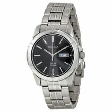 New Seiko Men's Silver Tone Solar Black Dial Watch SNE093