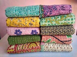 Indian Handmade Kantha Quilt Vintage Bedspread Throw Cotton Blanket Gudri Ralli