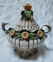 Antique Italy Capodimonte  Handled Covered Candy Decor Dish Yellow Rose Daisies