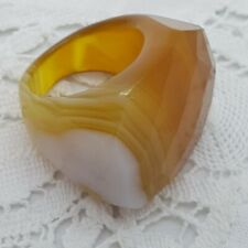 BANDED AGATE Faceted Cocktail Ring Yellow Brown White Stripe Chunky Statement  P