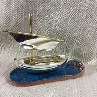 Vela Barca Ornamento Vela Scultura Modello Vintage Studio Ceramica Firmato Art