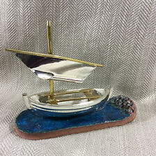 Sail Boat Ornament Sailboat Sculpture Model Vintage Studio Pottery Signed Art
