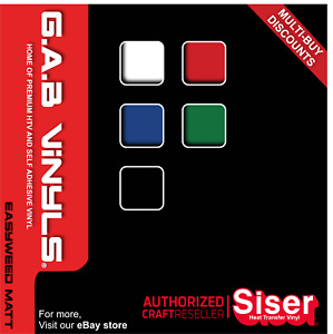 A4 sheets - Siser EasyWeed MATT - PREMIUM HTV Vinyl - Iron on - G.A.B Vinyls