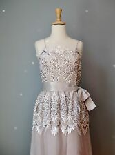 Vintage 50s Evening Gown by Victoria Royal Silver Gray Lace Chiffon Gown