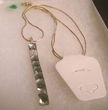 "Unique Brown Glass & White Austrian Crystal Pendant in Goldtone w/32"" Chain"