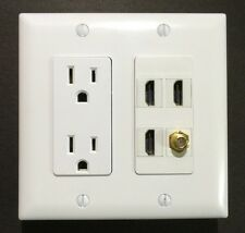 HDTV Wall Plate Power Outlet 15A 125v 3x HDMI F/F 1x COAX Decora White