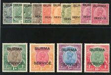 Burma 1937 KGVI Official set complete MLH. SG O1-O14. Sc O1-O14.