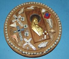 Crosses on Wood Wall Art Plaque with Beads Shells Madonna Child Religious Decor