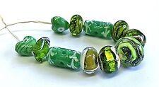 """Unique Handmade Lampwork Perles en verre, """"Green Mix"""""""