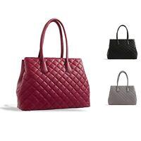 Ladies Large Quilted Faux Leather Handbag Bucket Shoulder Bag Tote Bag KT2320