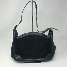 Vintage Gucci Navy Blue Suede Leather Adjustable Shoulder Slouch Bag Tote Purse