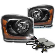 04-05 DODGE DURANGO CRYSTAL REPLACEMENT HEADLIGHTS LAMP BLACK W/6000K XENON HID