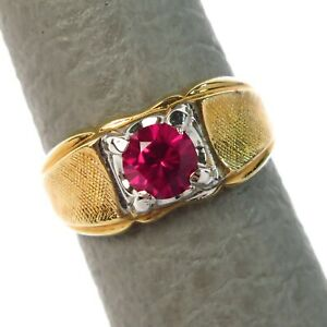 Size 11 Vintage Vargas-Lind Lab Created Ruby Mens Yellow HGE Ring