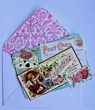 *PUNCH STUDIO Set of 6 Valentine Blank Note Cards ~ Roses ~ Hearts ~ Cherub