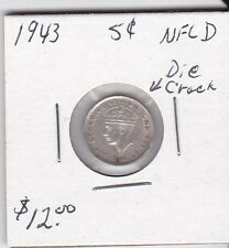 Canada 1943 NFLD 5 cent silver coin die crack