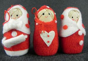 Addobbi DECORAZIONE Per albero di Natale VINTAGE tre Statuine matrioska di LEGNO