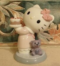 "Nao by Lladro 1695 ""Happy Birthday"" Hello Kitty with cake & teddy - Mwob, Rv$135"