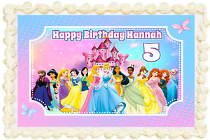 PRINCESS RECTANGLE / SQUARE PERSONALISED ICING EDIBLE COSTCO CAKE TOPPER
