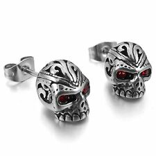 MENDINO Men's Women's Stainless Steel Stud Earrings CZ Zircon Skull Gothic Red
