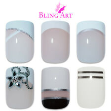 Bling Art False Nails White Fake French Manicure Glitter Medium Tips with Glue