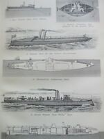 ANTIQUE PRINT DATED C1870'S TORPEDOES & TORPEDO BOATS ENGRAVING SUBMARINES ART