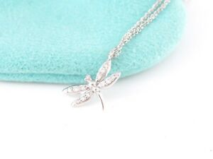 Tiffany & Co NEW RARE 18K White Gold Dragonfly Dragon Fly Necklace