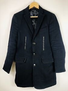 """ZARA MAN Mens Navy Blue Cotton Long Trench/Military 3-Button Tailored Coat M/38"""""""