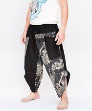 Hippie Smock Waist Samurai Harem Pants Ninja Warrior Trousers Japanese Koi Fish