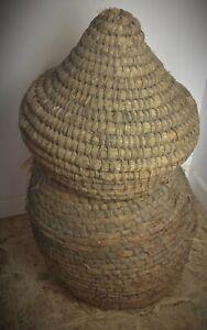 Importante et rare ancienne fin XIXème RUCHE d'apiculteur en paille H: 1 mètre