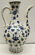 Blue And White Ceramic Ewer Pitcher Floral Patern