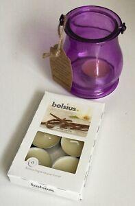 Purple Glass Tealight Lantern with metal handle recycled glass FREE PK TEALIGHTS