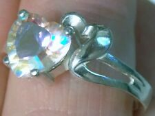 MERCURY MYSTIC TOPAZ RING SIZE 7 925 STERLING SILVER 1.75CT HEART USA MADE