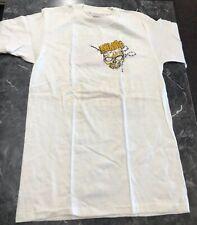 Vintage T Shirt- Maniac Shred Hardcore Skeleton Skateboard NOS Size M White