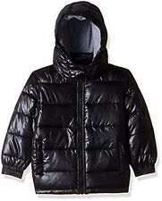 Boys high shine black  Pumpkin Patch hooded puffer jacket Size  2     BNWT