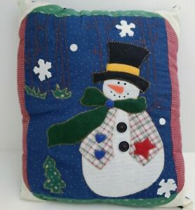 "Adorable Snowman Christmas Holiday Decor Pillow 12"" X 10"" Handmade"