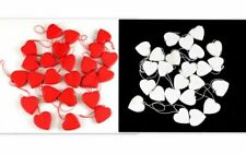 24 x Christmas Wooden Hanging Ornament Xmas Decoration Décor White Red Hearts