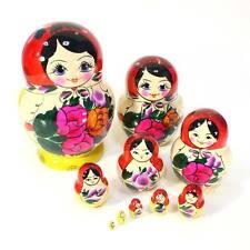 "Matryoshka Semenov Nesting dolls round-bellied 10 pcs (h=7"") Hand painted #7-1"