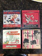 Lot Of 4 Vintage 8mm Reel To Reel Movies. 3 Castle Films. Laurel Hardy