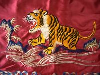 Vintage Tiger Embroidered Embroidery Pillow Cases Silky Fabric Faded Japan ?