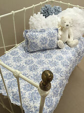 3 piece Girls Boys French Provincial Blue Cot Quilt & 2 Cushions Baby Nursery