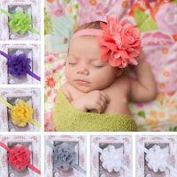 New Baby Girls Big Floral Lace Flower Bow Hairband Soft Elastic Headband B237