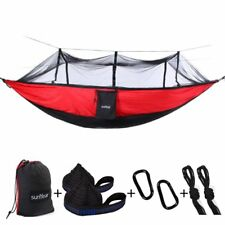Camping Nylon Hammock With Bug Net, Portable Lightweight  Parachute Hammock