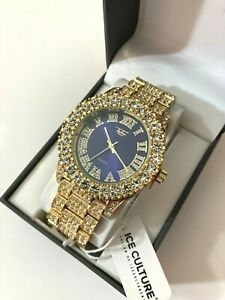Techno Pave Men's Gold Plated Iced Micro Pave Metal Band Watches WM 8719-108