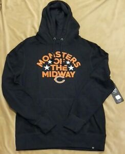 Chicago Bears 47 Brand Fleece Hoodie Monsters Of The Midway Navy Men's XL NWT