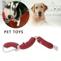 Pet Dog Chewing Playing Red Silicone Sausage Creative Shape Sausage Pet Toy L8Z4